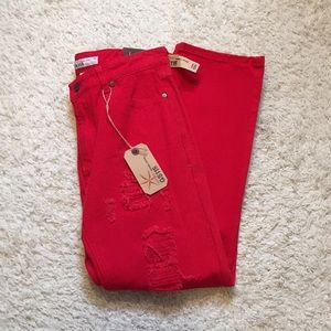 GS115 Red Distressed Jeans NWT Size 10